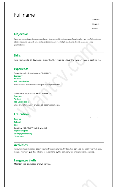 Top 10 fresher resume format- in MS Word |Free Download ...