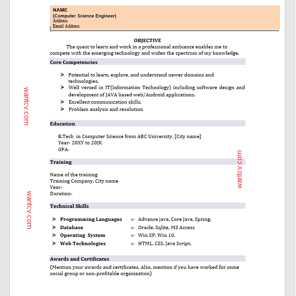 Download Resume Format For Fresher In Ms Word Wantcv Com