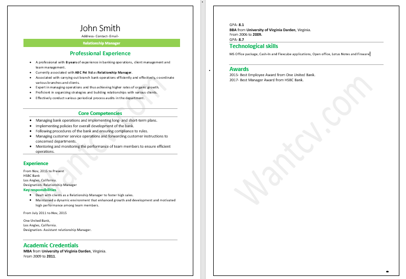 Resume for Experienced Banker