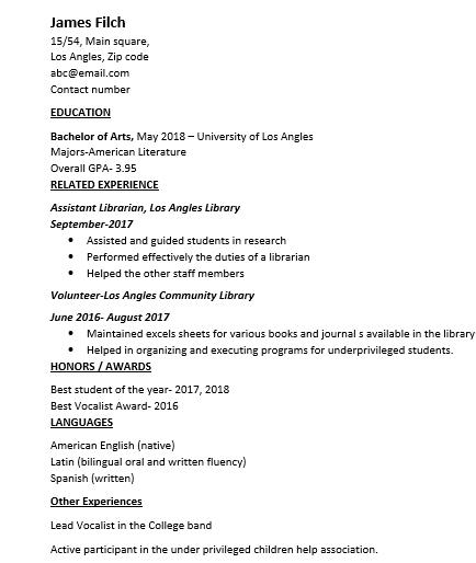 Sample CV Curriculum Vitae for freshers