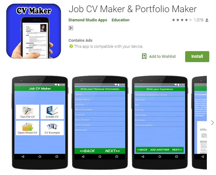 Job CV Maker- Google Resume Builder