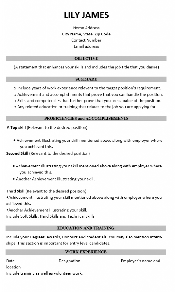 Writing A professional CV-functional