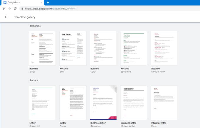 How to use Google docs Resume