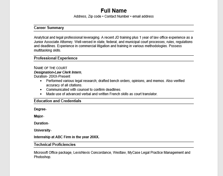 Resume for entry level candidate