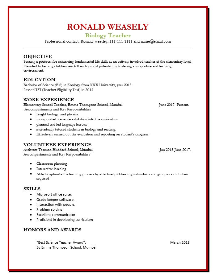 Resume for Biology Teacher