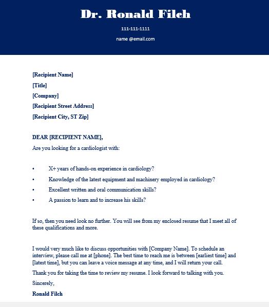 Cardiologist Cover letter sample 2