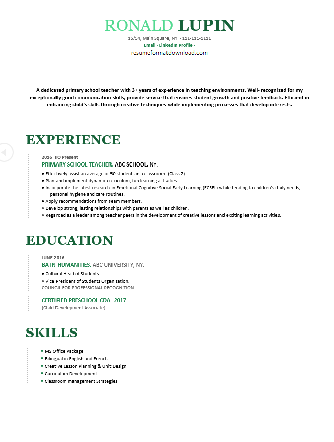 Best 5 Pre Primary Primary Teacher Resume Samples Wantcv Com