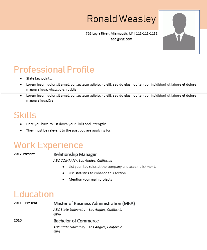 Relationship Manager Resume Template