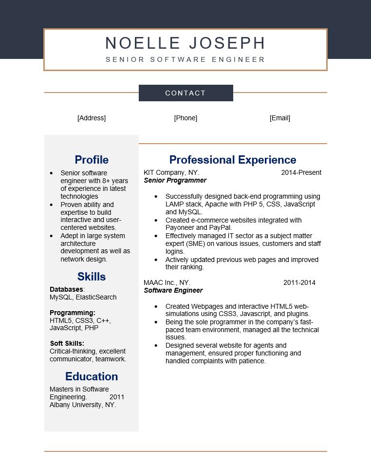 Senior Software Engineer Resume