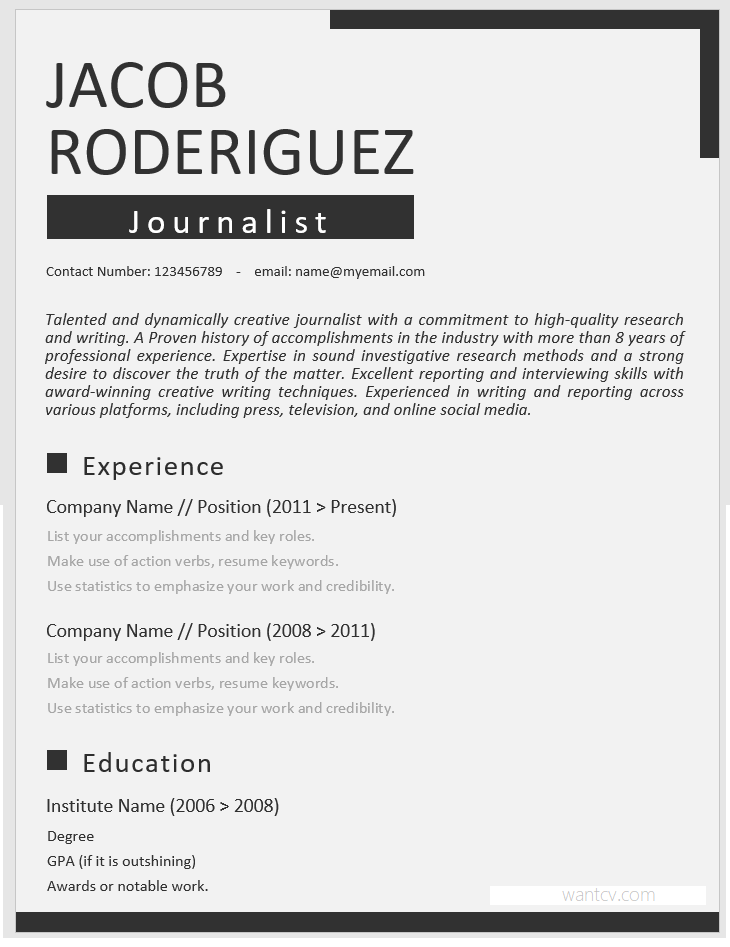 Resume templates word free download- White and Black Resume Template