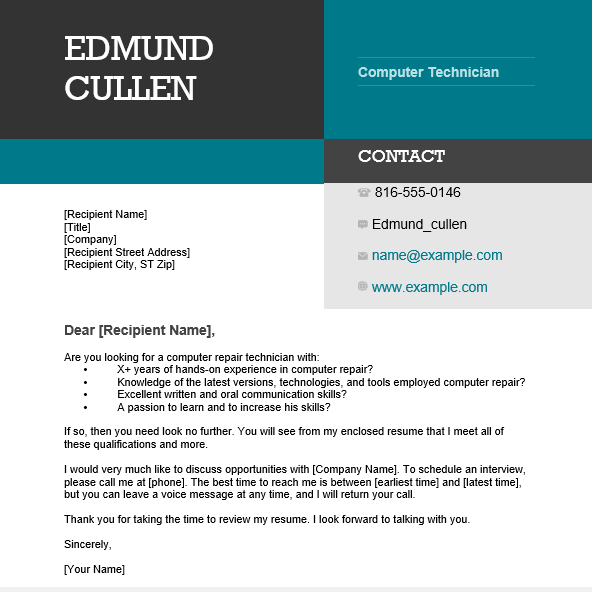 Best Computer Technician Resume and Cover Letter - Wantcv.com