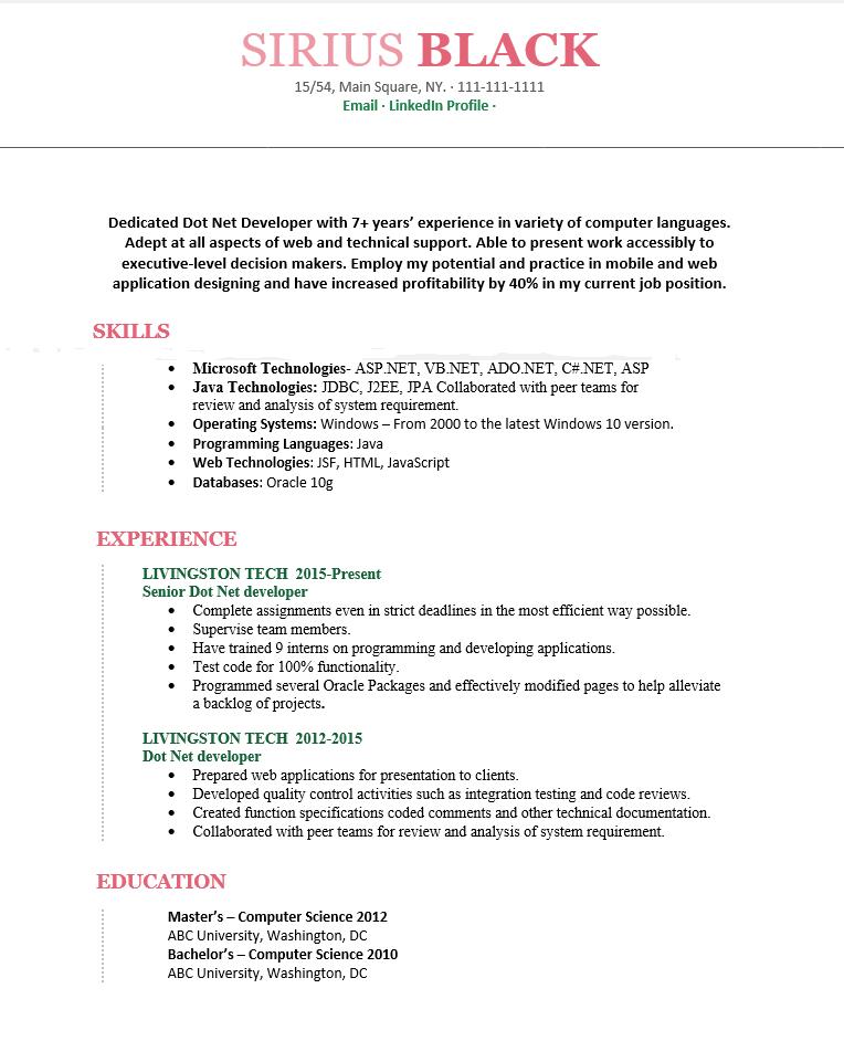 Best 3 Dot Net Developer Resume & Cover Letter Free - Wantcv.com