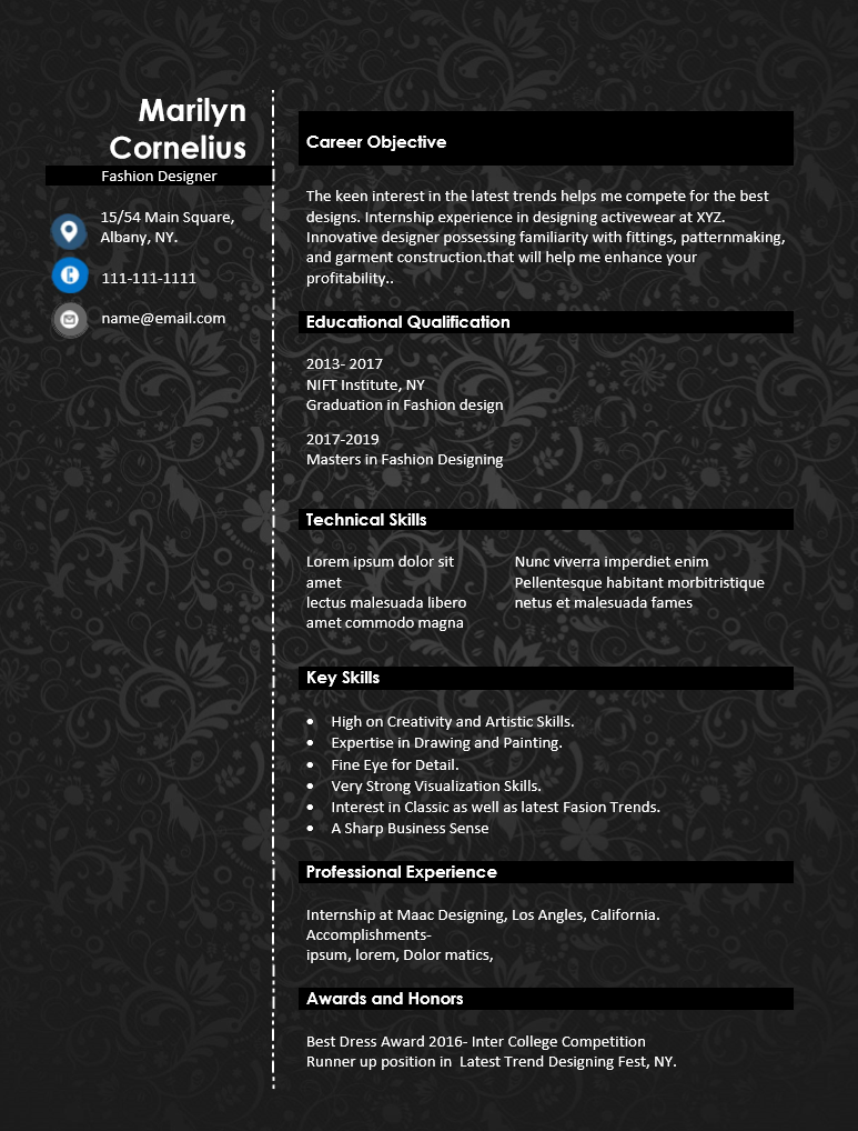 How To Write A Good Fashion Designer Resume Sample Wantcv Com