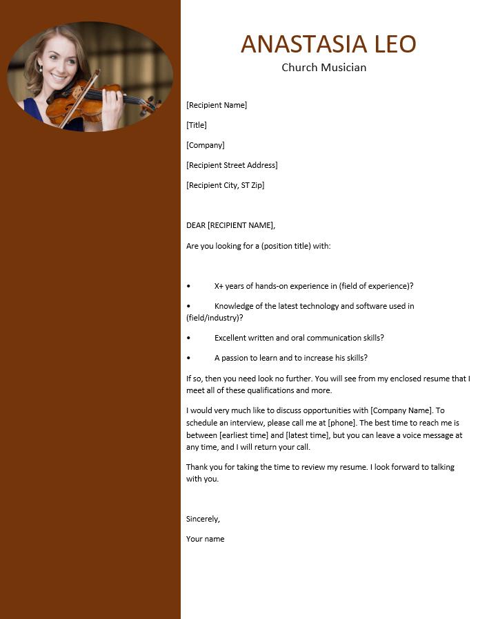 Church musician resume cover letter