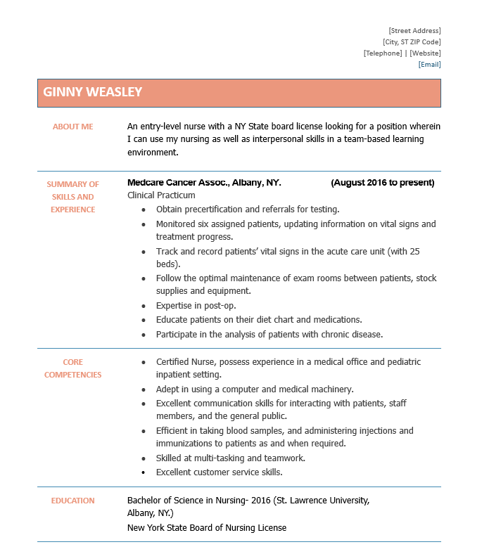 Entry Level Nurse Resume Sample Pdf Doc Docx Wantcv Com