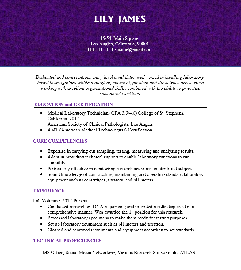 Best 3 Medical Lab Assistant Resume Samples Free Wantcv Com