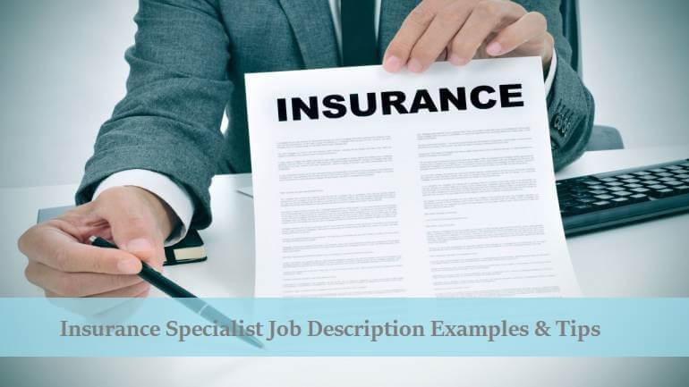 Insurance Specialist Job Description Examples